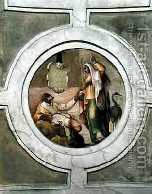 Representation of one of the Virtues from the ceiling of the Grimani Chapel by Battista Franco - Reproduction Oil Painting