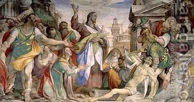 Resurrection of Lazarus by Battista Franco - Reproduction Oil Painting