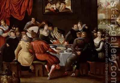 Elegant Figures Feasting and Disporting at a Table with the Last Judgement in the Background by Hieronymus II Francken - Reproduction Oil Painting