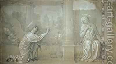 The Annunciation preparatory cartoon for the Cappella Raffo fresco in the Misericordia Cemetery Siena by Alessandro Franchi - Reproduction Oil Painting