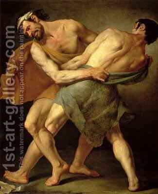 Two Wrestlers by Cesare Francazano - Reproduction Oil Painting