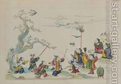 Children flying kites from an album of Chinese drawings by Jean Antoine Fraisse - Reproduction Oil Painting