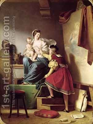 Raphael Adjusting his Models Pose for his Painting of the Virgin and Child by Alexandre Evariste Fragonard - Reproduction Oil Painting