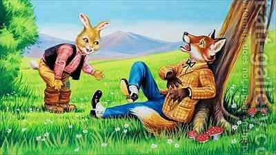 Brer Rabbit and Brer Fox by Henry Charles Fox - Reproduction Oil Painting