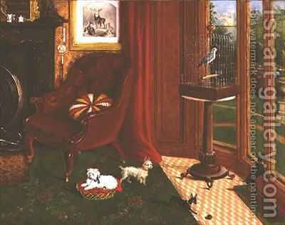 Interior with terriers and a parrot in a cage by E.M. Fox - Reproduction Oil Painting