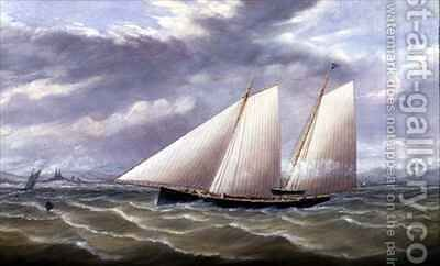 A Cutter in a Strong Wind Flying a Burgee of the Royal Thames Yacht Club by Arthur Wellington Fowles - Reproduction Oil Painting