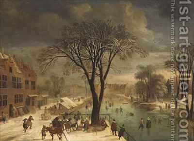 Winter Scene with Skaters on a Frozen River by Jacques Fouquieres - Reproduction Oil Painting