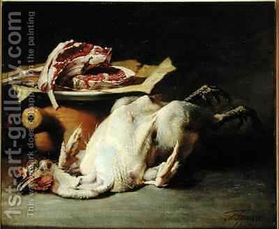Still Life of a Chicken and Cutlets by Guillaume-Romain Fouace - Reproduction Oil Painting