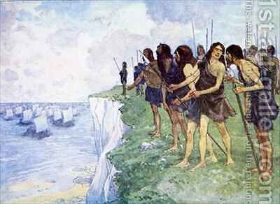 The shore was covered with men ready for battle Early Britons ready for battle as Caesar sails his galleys to find a suitable landing place by A.S. Forrest - Reproduction Oil Painting