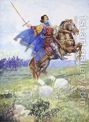 It seemed as if he rode alone to defy the whole English army by A.S. Forrest - Reproduction Oil Painting