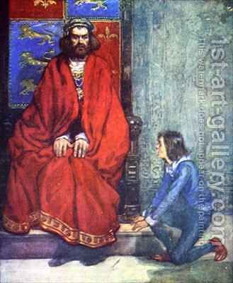 The little boy knelt before the King and stammered out the story by A.S. Forrest - Reproduction Oil Painting