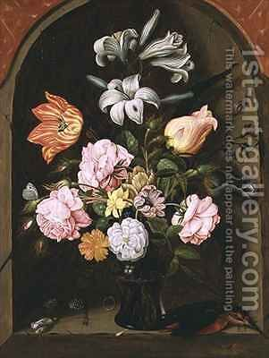 A Still Life of Flowers in a Vase and a Kingfisher on a Ledge by Jan Baptist van Fornenburgh - Reproduction Oil Painting