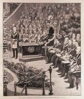 Grand Masonic Gathering in the Royal Albert Hall in Honour of the Queens Jubilee by Amedee Forestier - Reproduction Oil Painting