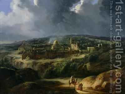 View of Jerusalem from the Valley of Jehoshaphat by Auguste Forbin - Reproduction Oil Painting