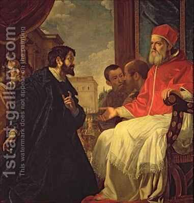 Michelangelo and Pope Julius II by Anastasio Fontebuoni - Reproduction Oil Painting