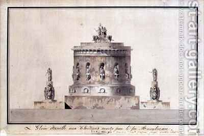 Design for a Funerary Monument by (after) Fontaine, Pierre Francois Leonard - Reproduction Oil Painting