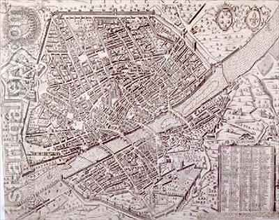 Map of Florence by Matteo Florimi - Reproduction Oil Painting