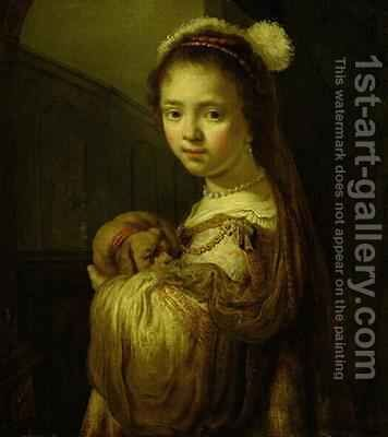 Picture of a Young Girl by Govert Teunisz. Flinck - Reproduction Oil Painting
