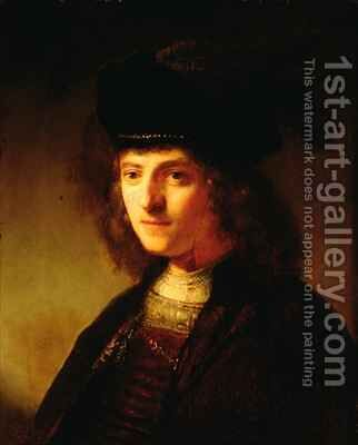 A Young Man in a Feathered Beret by Govert Teunisz. Flinck - Reproduction Oil Painting