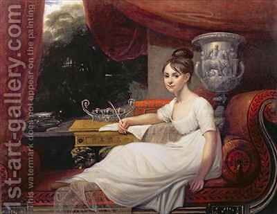 Portrait of Eleanor Anne Porden on a chaise longue by Mary Ann Flaxman - Reproduction Oil Painting