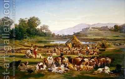 Shepherds with Sheep by Gregoire Isidore Flacheron - Reproduction Oil Painting