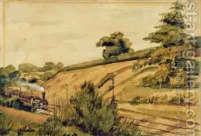 Landscape with Train by Edward W. Fitch - Reproduction Oil Painting
