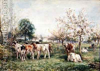 Calves in a Cherry Orchard by Mark Fisher - Reproduction Oil Painting