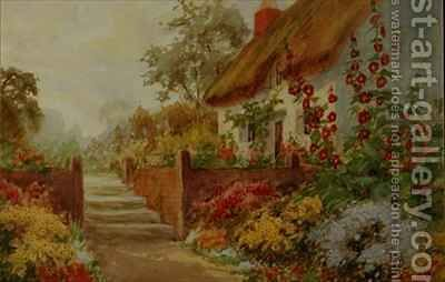 Cottage Garden Scene by Claude Leighton Fisher - Reproduction Oil Painting