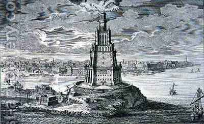 Lighthouse at Alexandria built by Ptolemy the Great Egypt by (after) Fischer von Erlach, Johann Bernhard - Reproduction Oil Painting