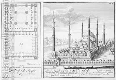 Plan and View of the Blue Mosque 1609-16 by (after) Fischer von Erlach, Johann Bernhard - Reproduction Oil Painting