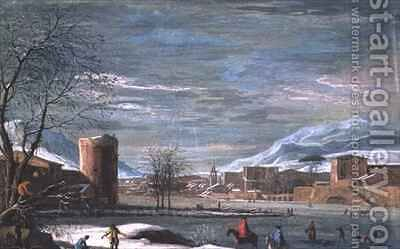 Winter Landscape by (attr.) Filippi, Paolo de - Reproduction Oil Painting
