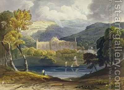 North View of Tintern Abbey from Picturesque Illustrations of the River Wye by Anthony Vandyke Copley Fielding - Reproduction Oil Painting