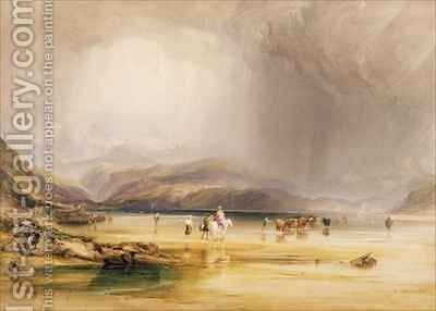View from Snowdon from Sands of Traeth Mawe taken at the Ford between Pont Aberglaslyn and Tremadoc by Anthony Vandyke Copley Fielding - Reproduction Oil Painting
