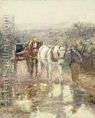 Horses and Cart by Harry Fidler - Reproduction Oil Painting