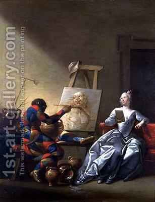 The Harlequin Painter by Giovanni Domenico Ferretti - Reproduction Oil Painting