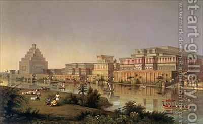 The Palaces of Nimrud Restored a reconstruction of the palaces built by Ashurbanipal on the banks of the Tigris by (after) Fergusson, James - Reproduction Oil Painting