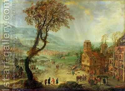 An Extensive landscape with building work in progress by an Inn by Adam Pancratz Ferg or Ferch - Reproduction Oil Painting