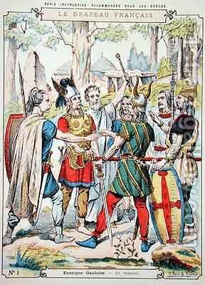 Gaulish warriors swearing an oath from a protective sleeve for school books by H. and Louis, R. Feist - Reproduction Oil Painting
