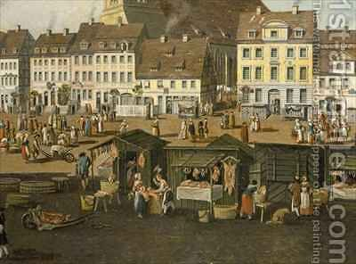 The New Market in Berlin with the Marienkirche by Carl Traugott Fechhelm - Reproduction Oil Painting