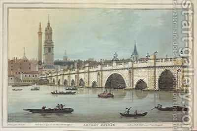 View of Old London Bridge by (after) Farington, Joseph - Reproduction Oil Painting