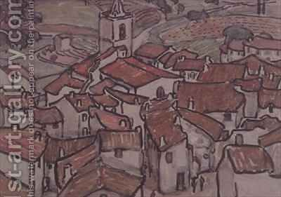 View of Grimaud by Anne L. Falkner - Reproduction Oil Painting