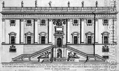 View of the facade of Palazzo Senatorio in Piazza del Campidoglio Rome by Giovanni Battista Falda - Reproduction Oil Painting