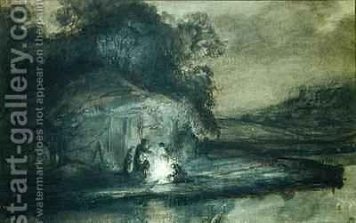 Nocturnal landscape with a river and shepherds by Barent Fabritius - Reproduction Oil Painting
