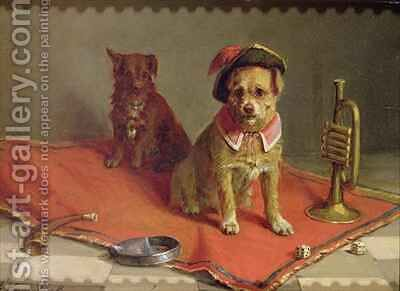 Dog in military hat and collar with trumpet and dice by Charles van den Eycken - Reproduction Oil Painting