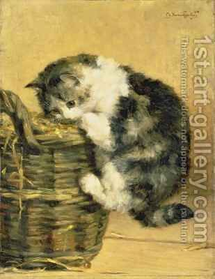 Cat with a Basket by Charles van den Eycken - Reproduction Oil Painting
