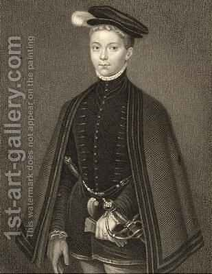 Portrait of Henry Stewart 1545-67 Lord Darnley from Lodges British Portraits by (after) Eworth or Ewoutsz, Hans - Reproduction Oil Painting