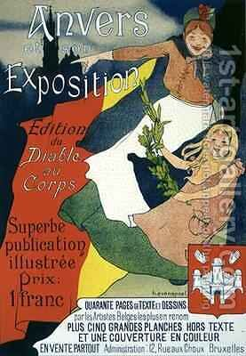 Reproduction of a poster advertising the illustrated publication from the Antwerp Exposition by Henri-Jacques Evenepoel - Reproduction Oil Painting
