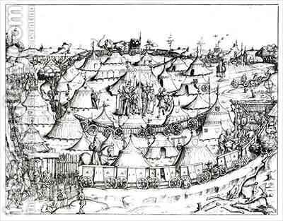 Medieval military encampment by (after) Essenwein, August Ottmar von - Reproduction Oil Painting