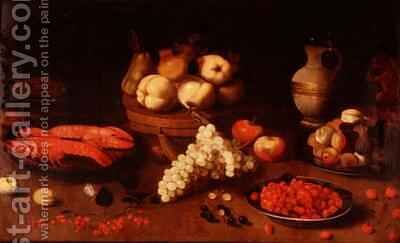 Still life with fruit crayfish and a squirrel by Jacob Fopsen van Es - Reproduction Oil Painting