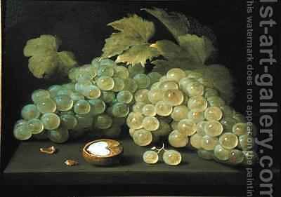 Grapes with half a walnut by Jacob Fopsen van Es - Reproduction Oil Painting